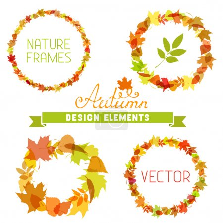 Illustration for Various autumn leaves. There is place for your text in the center. - Royalty Free Image
