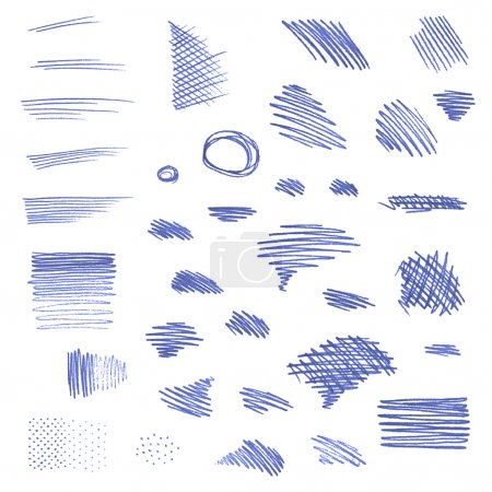Vector set of pen strokes isolated on white background.