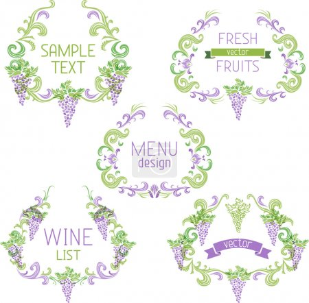 Grapes vintage wreathes