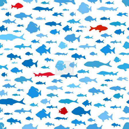 Illustration for Seamless pattern of fish. Various fish on white background for your design. - Royalty Free Image