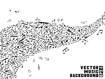 Illustration pour Fond noir et blanc. Ensemble de notes de musique et clefs triples sur fond blanc . - image libre de droit