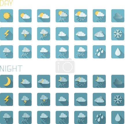 Illustration pour Ensemble d'icônes météo plates carrées isolées sur fond blanc. icônes de jour et de nuit colorées. Ombres plates . - image libre de droit