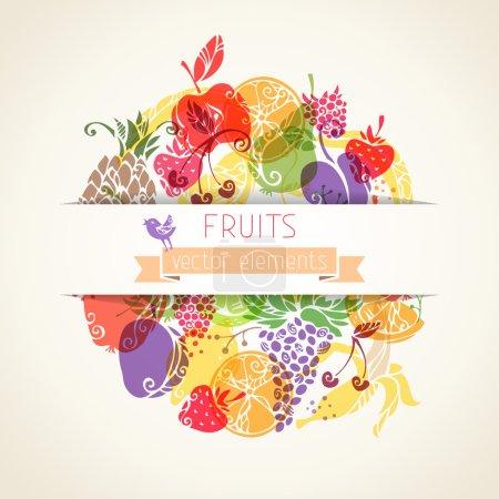 Illustration pour Fruits et baies dans le cercle sur fond de papier. Il y a de la place pour votre texte au centre. Fruits vintage pour votre design. Fond vectoriel . - image libre de droit
