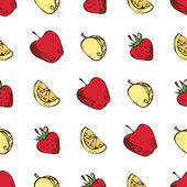 Seamless pattern of fruits and berries on white background Vintage apples apricots strawberries and oranges