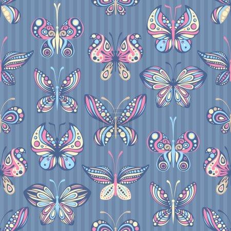 Seamless pattern of butterflies