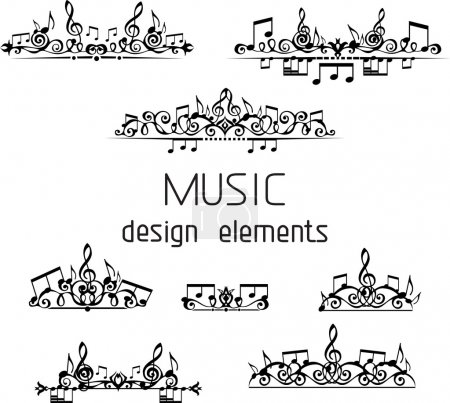 Vector set of music page decorations. Page divider...