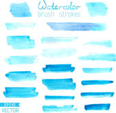 Set of hand-painted brush strokes Blue watercolor stripes isolated on white background Vector illustration