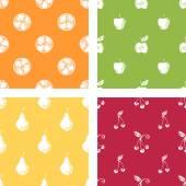 Set of fruits seamless patterns