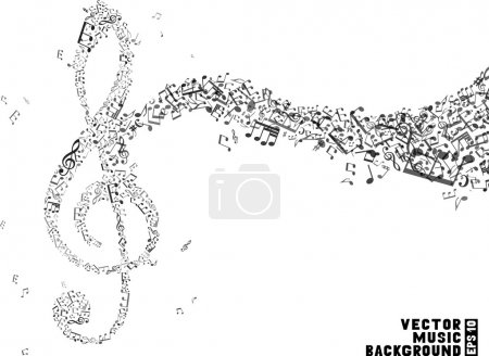Illustration pour Music background. Music notes and treble clefs. Music wave background. Black and white vector illustration. - image libre de droit