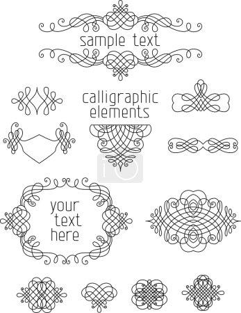 Illustration pour Ensemble vectoriel d'éléments de conception calligraphique. Décorations de page, diviseurs, cadres et en-têtes vintage . - image libre de droit
