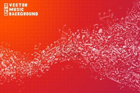 Set of white music elements on red background. Mus...