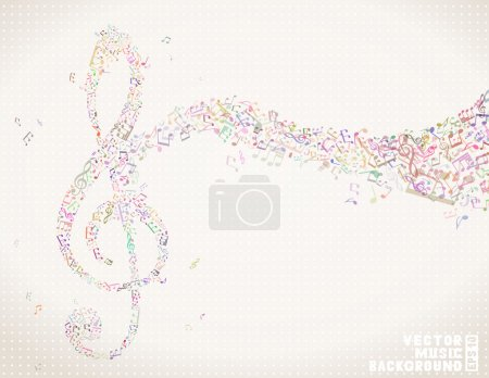 Music colorful background. Music notes and treble ...