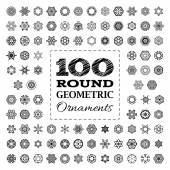 Set of 100 round geometric ornaments