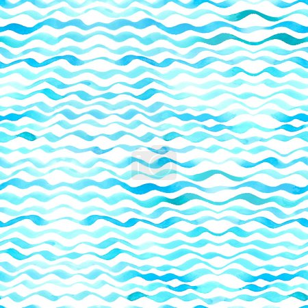 Illustration for Blue watercolour waves on white background. - Royalty Free Image