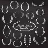 Hand-drawn page decorations flourishes and design elements on chalkboard background