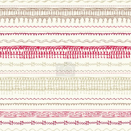 Seamless pattern of sewing stitches.