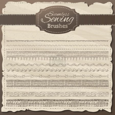 Vector set of seamless sewing borders.