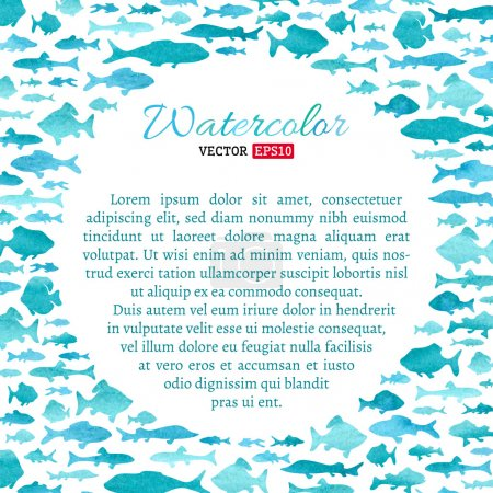 Vector watercolour fish background.