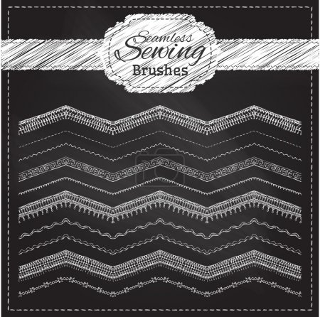 Vector set of chalk sewing brushes.