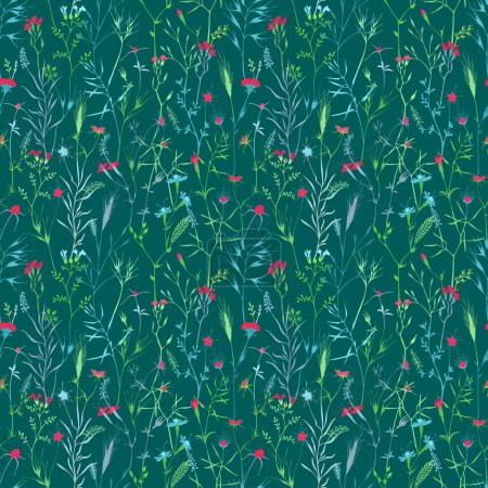 Vector seamless pattern of flowers and grass.
