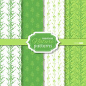 Set of seamless duotone nature patterns