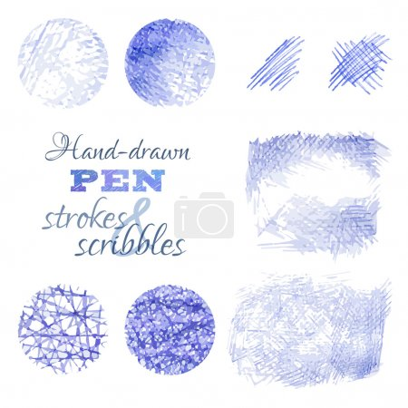 Set of hand-drawn pen strokes and scribbles.