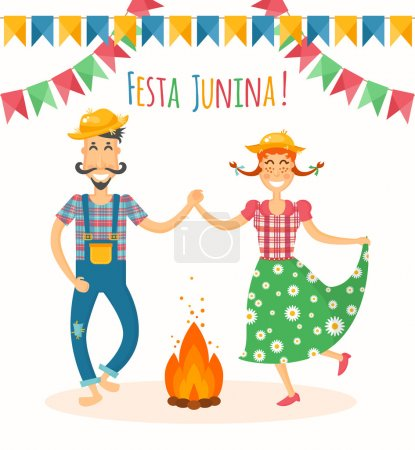 Festa Junina vector illustration - traditional Brazilian celebration. Latin American june holiday. Young man and woman in the farm clothes dancing around the fire.