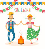 Festa Junina vector illustration - traditional Brazilian celebration Latin American june holiday Young man and woman in the farm clothes dancing around the fire