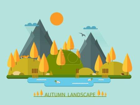 Flat autumn nature landscape vector illustration