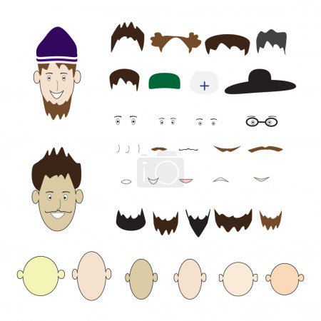 A set of parts of the human face and hats on an isolated background