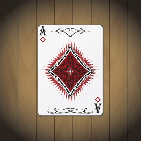 Ace of diamonds poker card varnished wood background