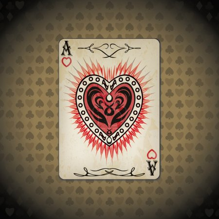 Ace of hearts poker card old look