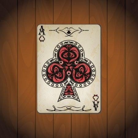 Ace of clubs poker card old look varnished wood background