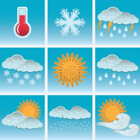 Day weather colour icons set blue sky background