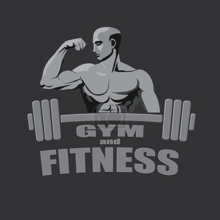 Fitness gym logo mockup bodybuilder showing biceps grey background