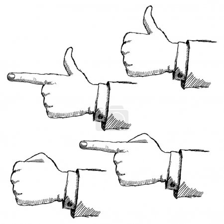Handdrawn sketch hands set isolated on white background
