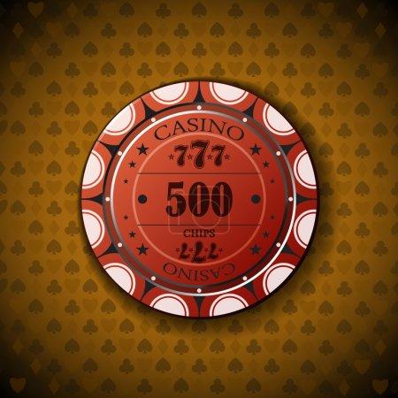 Poker chip nominal five hundred, on card symbol background