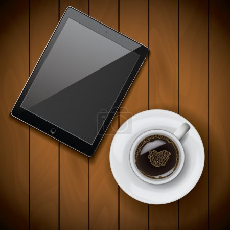 New realistic tablet mockup template with coffee cup on wood background