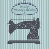 Retro sewing machine with floral ornament on hipster background. Vintage sign design. Old fashiond theme label