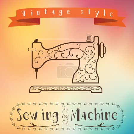 Old retro sewing machine with floral ornament on colorfull background. Vintage label design. Color flow effect. Hipster theme label