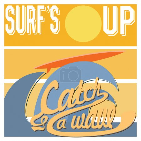 Surf's Up typography, t-shirt Printing design graphics, retro vintage vector poster, Badge Applique Label