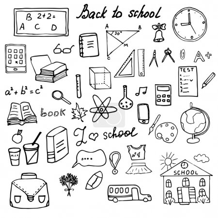 Back to School Supplies Sketchy Doodles set with Lettering, Hand Drawn Vector Illustration Design Elements isolated on white Background