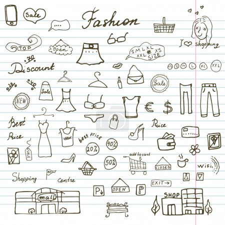 Fashion collection Sketchy Doodles set with Lettering, Hand-Drawn Vector Illustration Design Elements on Lined Sketchbook Paper Background