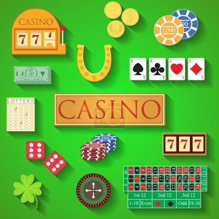 Casino elements Flat design modern vector illustration of casino items, gambling chips, poker cards, roulette, money, dice, ace, coin, cash, horseshoe, bandit, clover, lottery icons with long shadow