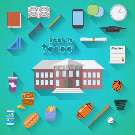 Back to School Flat design modern vector illustration, school building, pen, pensil, food, sport items, diploma and graduation cap icons with long shadow