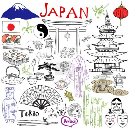 Japan doodles elements. Hand drawn set with Fujiyama mountain, Shinto gate, Japanese food sushi and tea set, fan, theater masks, katana, pagoda, kimono. Drawing doodle collection, isolated on white.