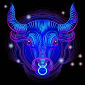 A series of signs of the zodiac Made in neon art On a black background constellations