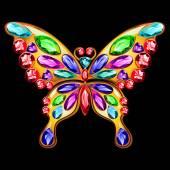 Spilla doro a forma di farfalla con gemme