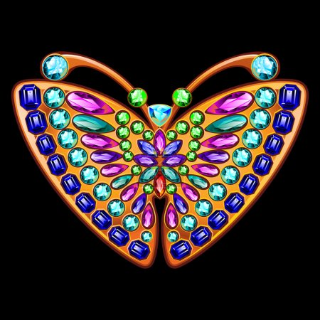Precious brooch in the form of a butterfly with gems.