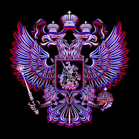 Russian Coat of Arms on a black background in three colors